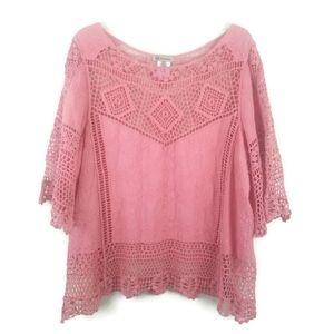 Democracy Boho Crochet Top XL Elbow Length Sleeve